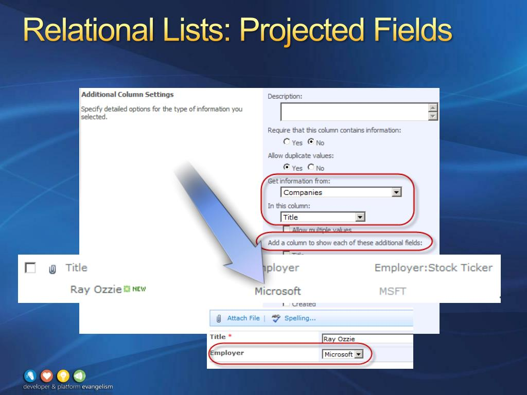 Relational Lists: Projected Fields