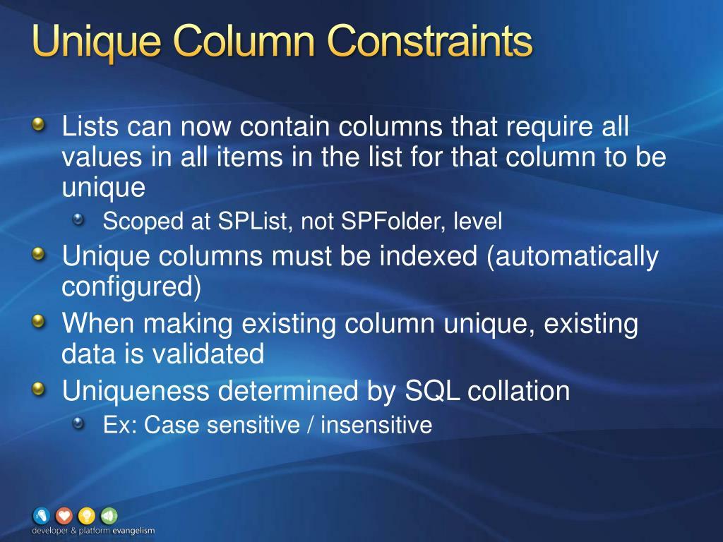 Unique Column Constraints