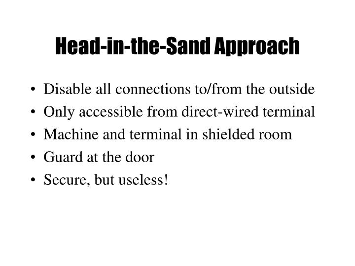 Head in the sand approach