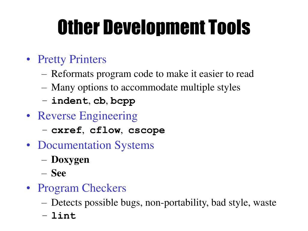Other Development Tools