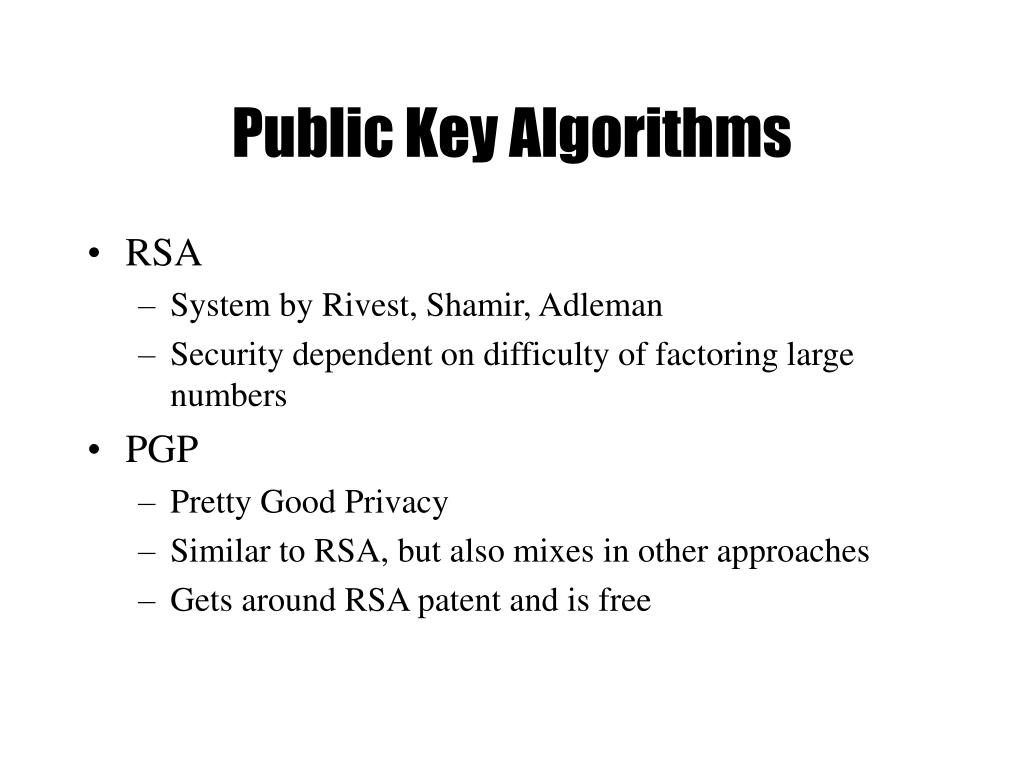 Public Key Algorithms