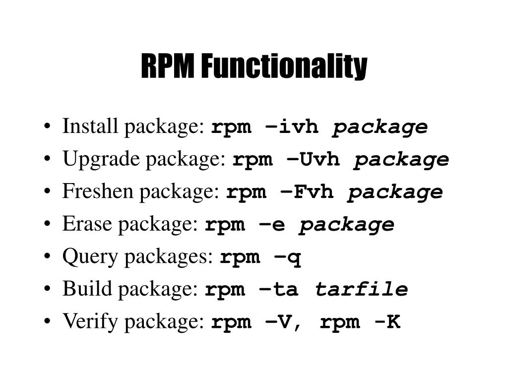 RPM Functionality