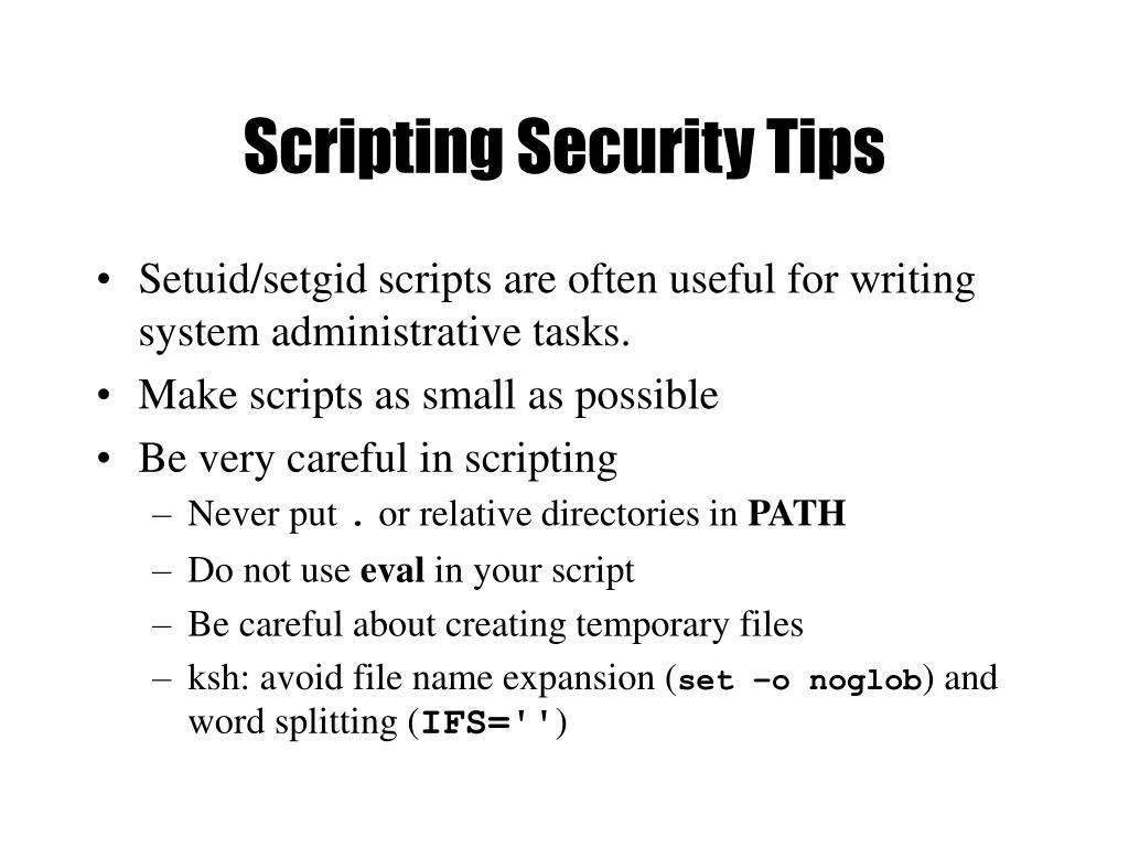 Scripting Security Tips