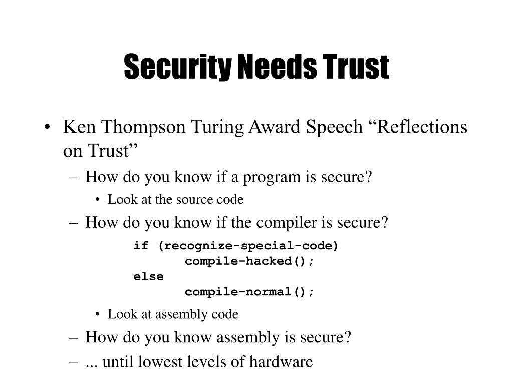Security Needs Trust