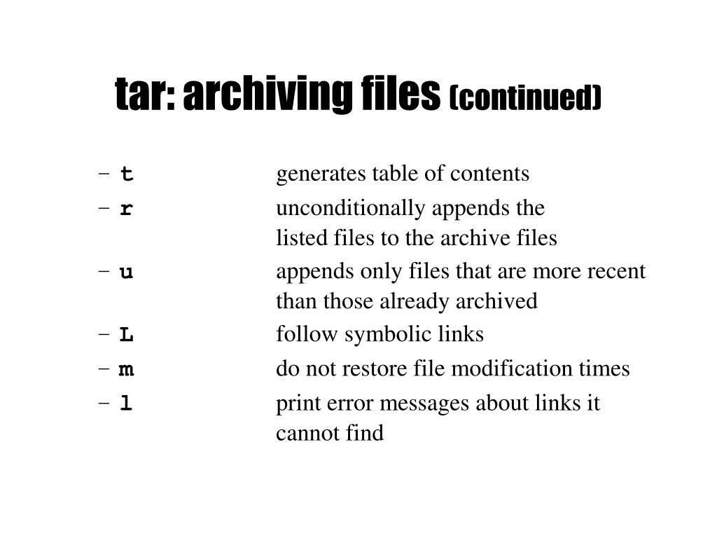 tar: archiving files