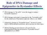 role of dna damage and epigenetics in bystander effects