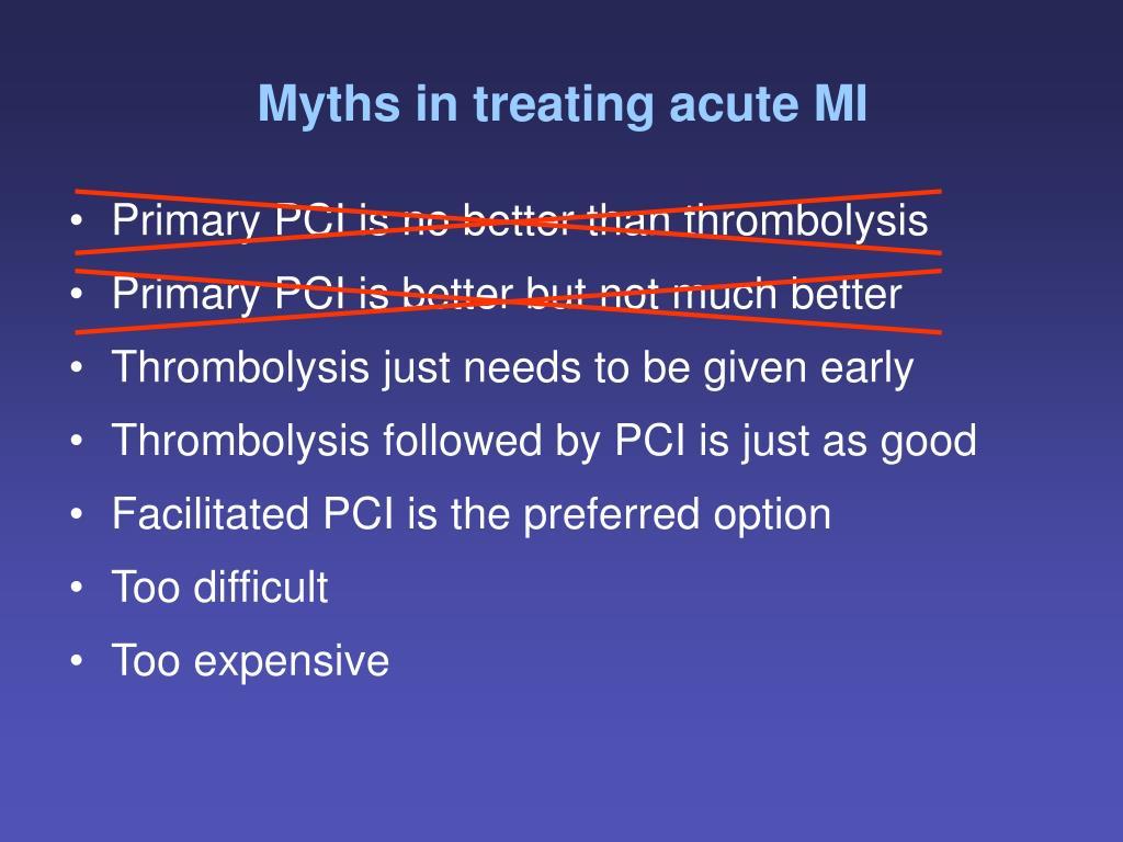 Myths in treating acute MI