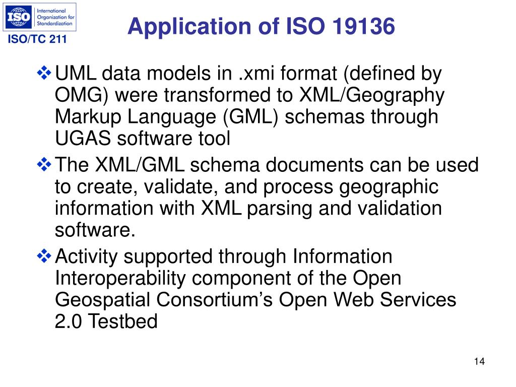 Application of ISO 19136