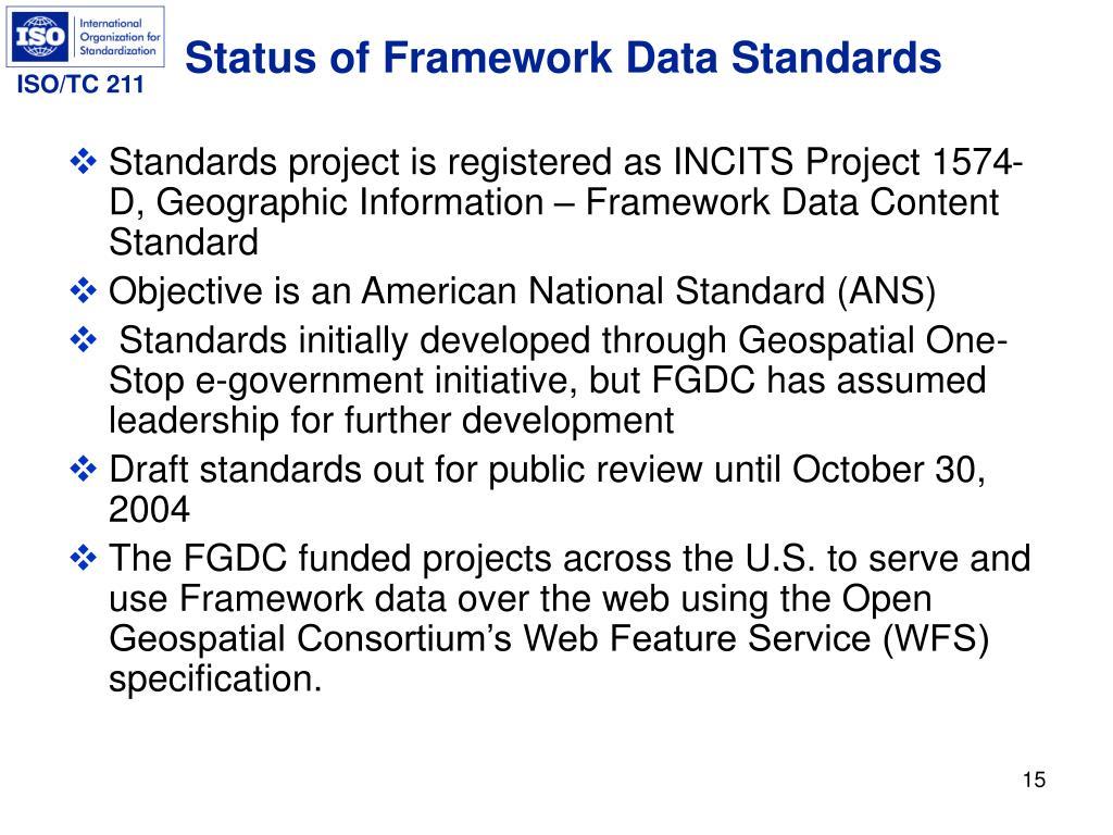 Status of Framework Data Standards