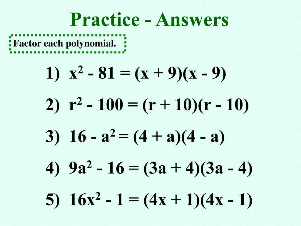 Practice - Answers