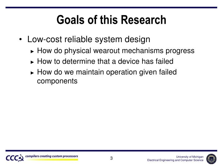Goals of this research