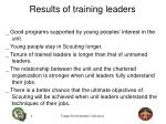 results of training leaders