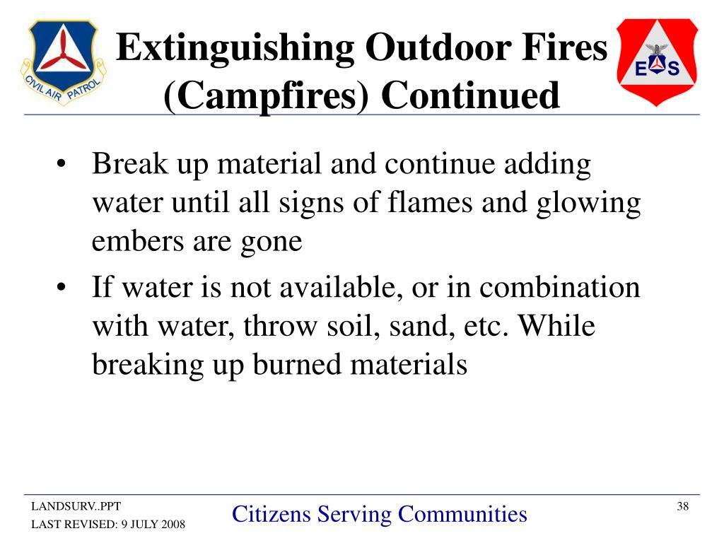 Extinguishing Outdoor Fires (Campfires) Continued