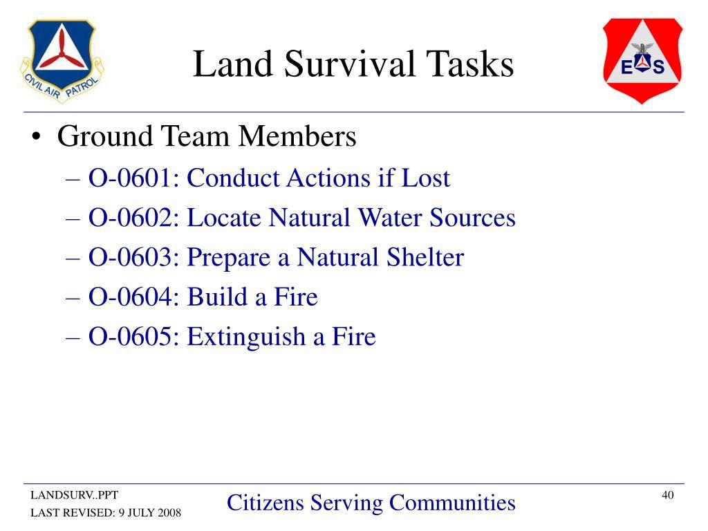 Land Survival Tasks