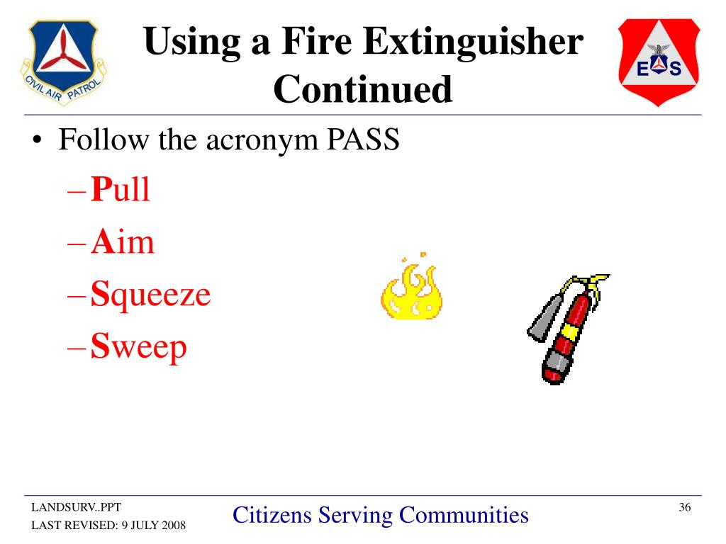Using a Fire Extinguisher Continued