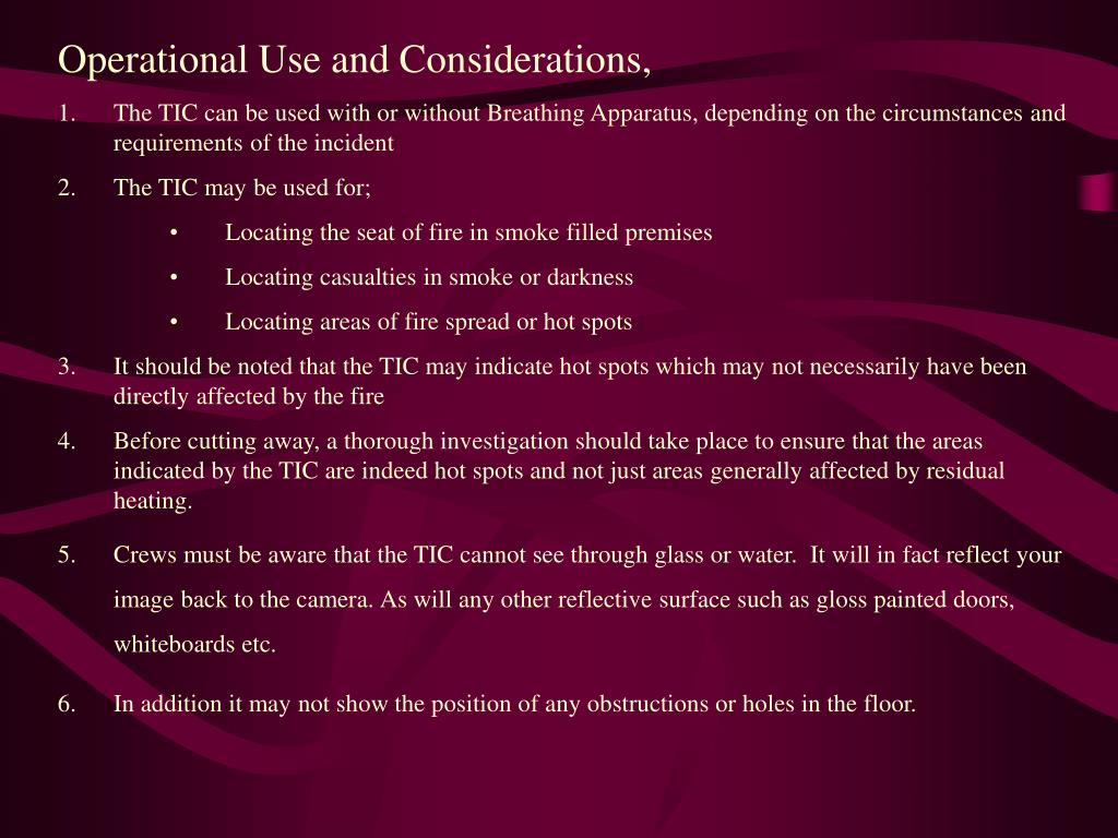 Operational Use and Considerations,
