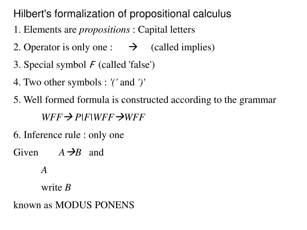 Hilbert's formalization of propositional calculus