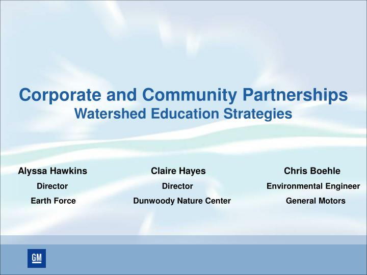 corporate and community partnerships watershed education strategies n.
