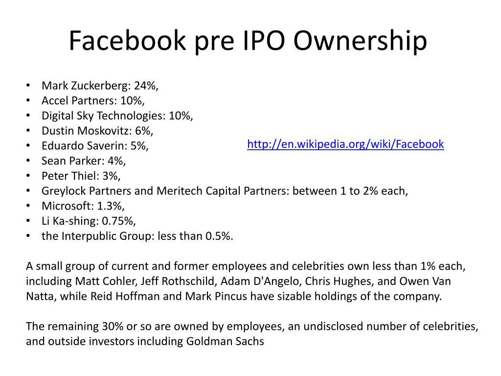 Facebook pre IPO Ownership