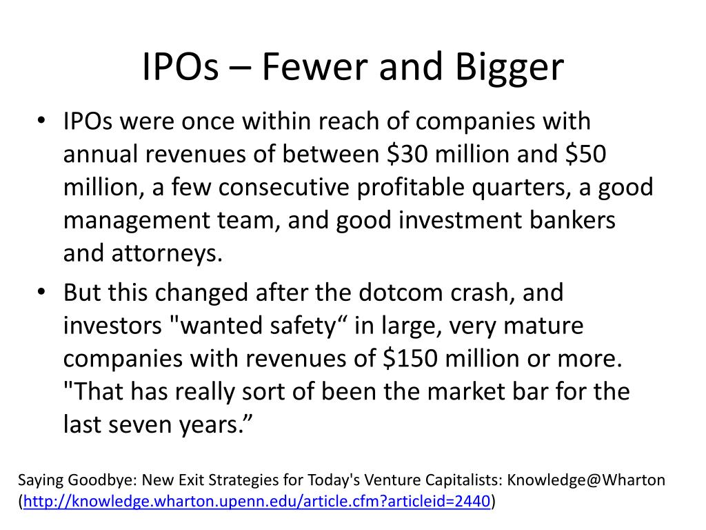 IPOs – Fewer and Bigger