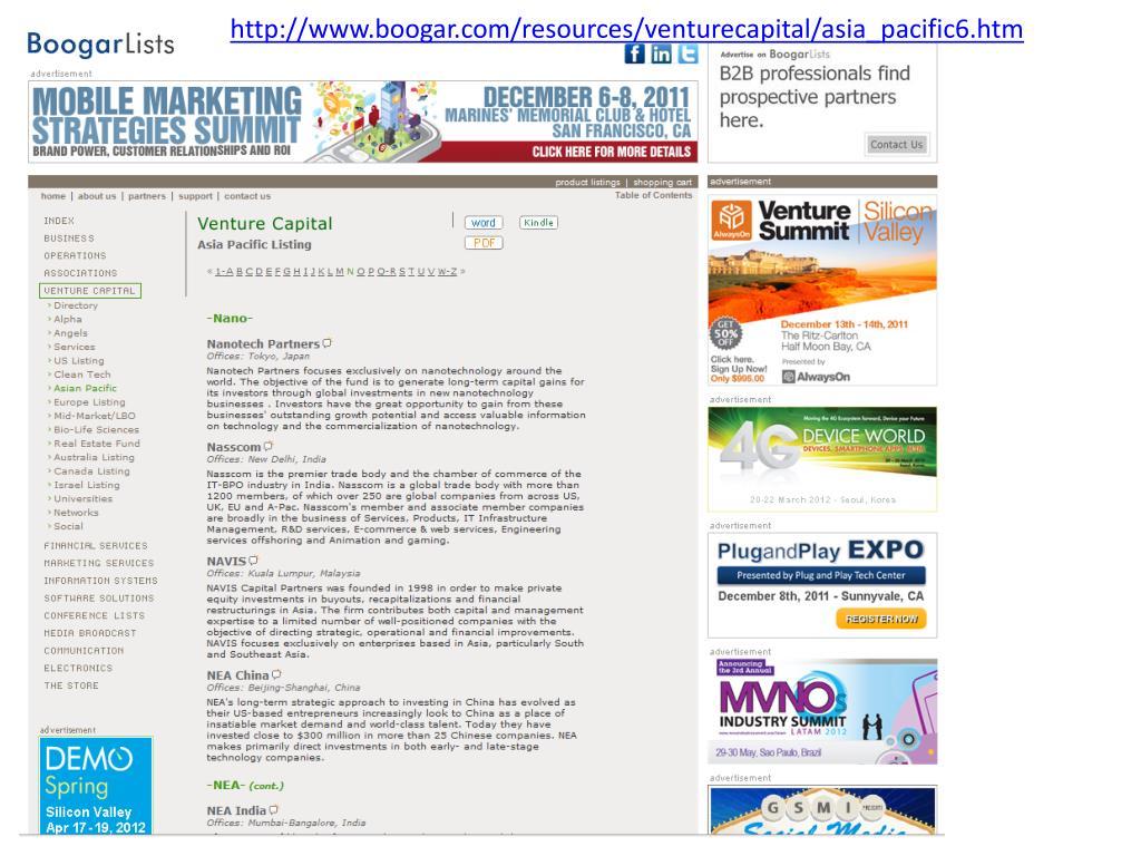 http://www.boogar.com/resources/venturecapital/asia_pacific6.htm