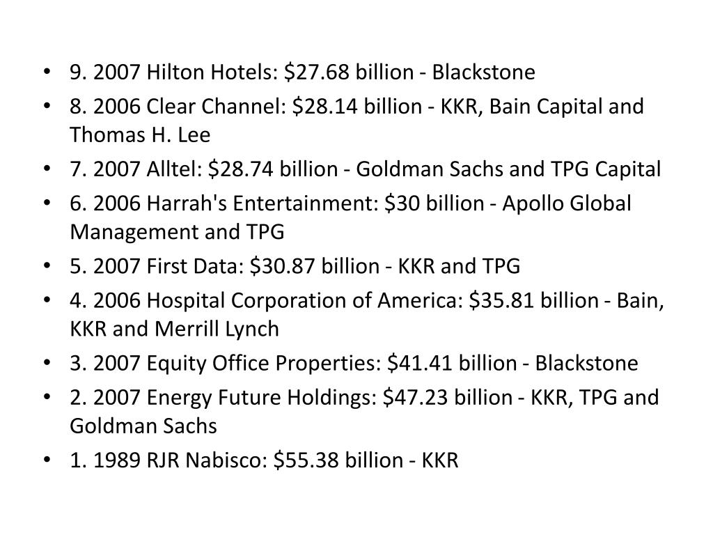 9. 2007 Hilton Hotels: $27.68 billion - Blackstone