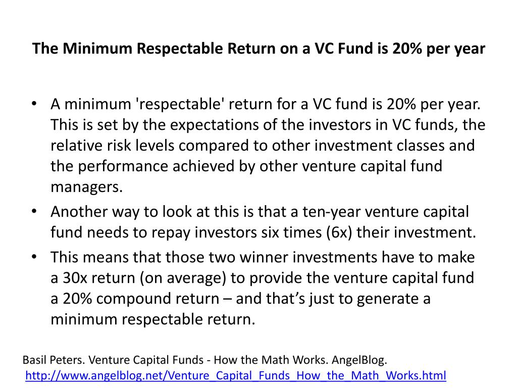 The Minimum Respectable Return on a VC Fund is 20% per year