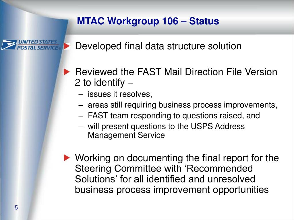 MTAC Workgroup 106 – Status