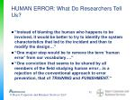 human error what do researchers tell us