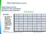 raci definitions cont