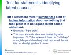 test for statements identifying latent causes