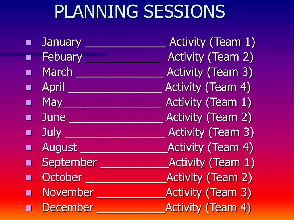 PLANNING SESSIONS