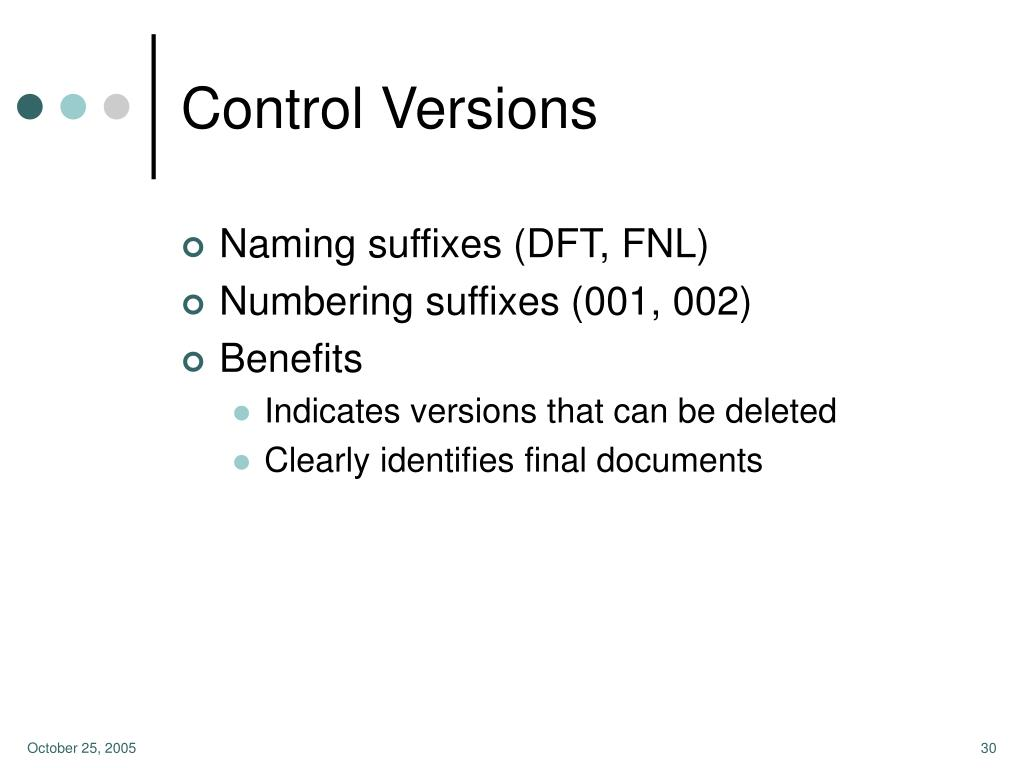 Control Versions