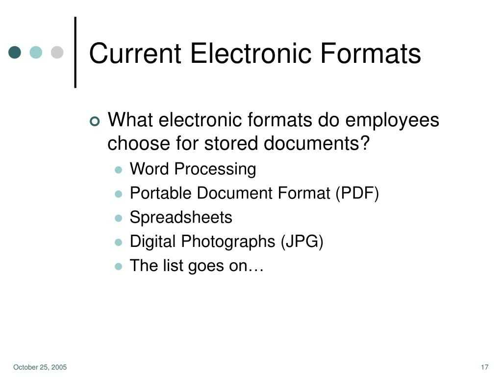 Current Electronic Formats