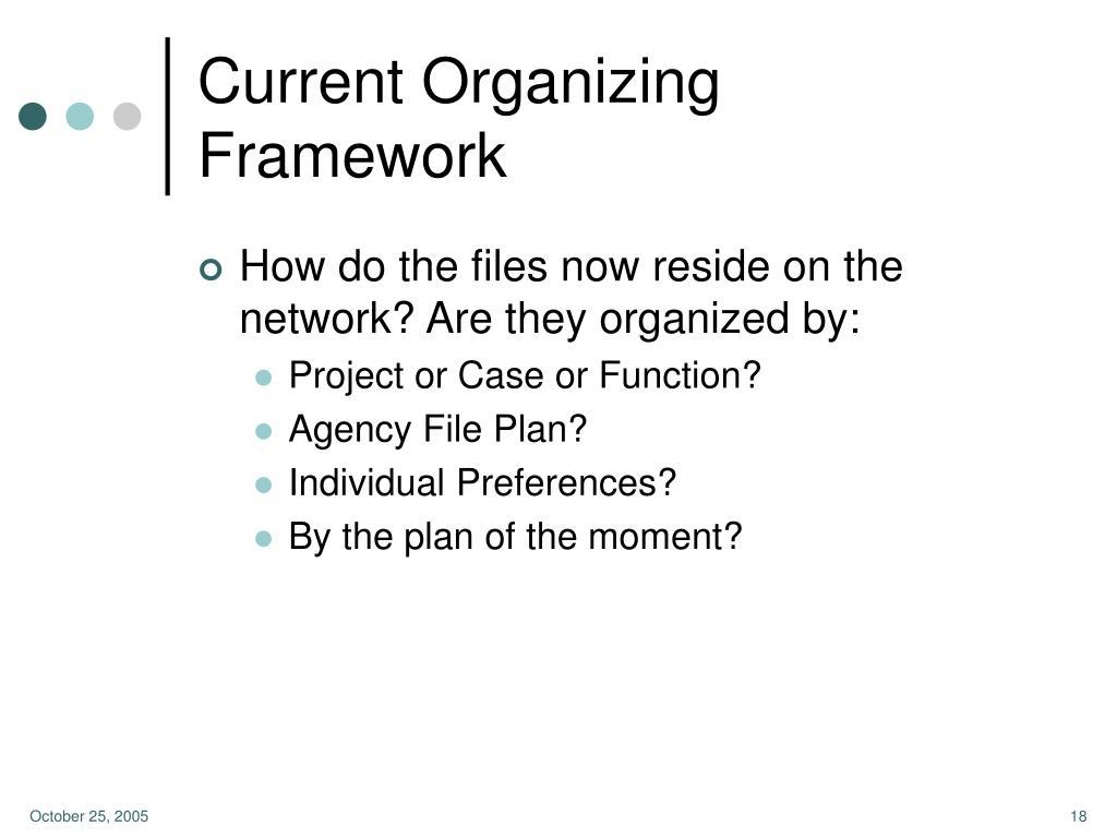 Current Organizing Framework