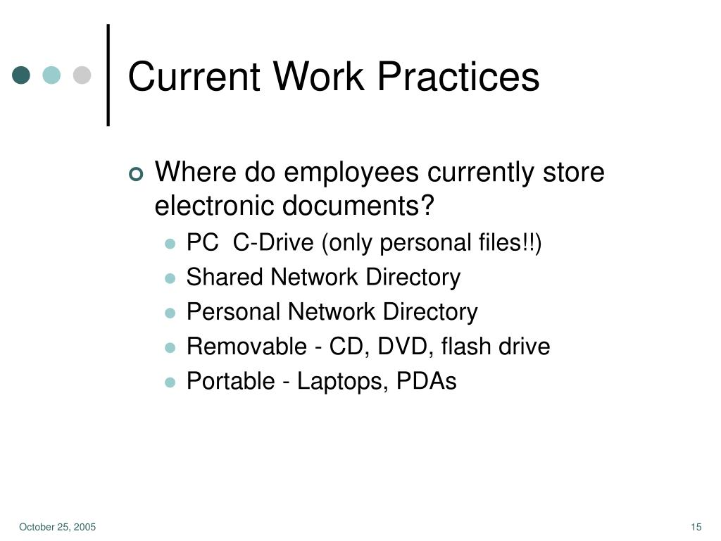 Current Work Practices