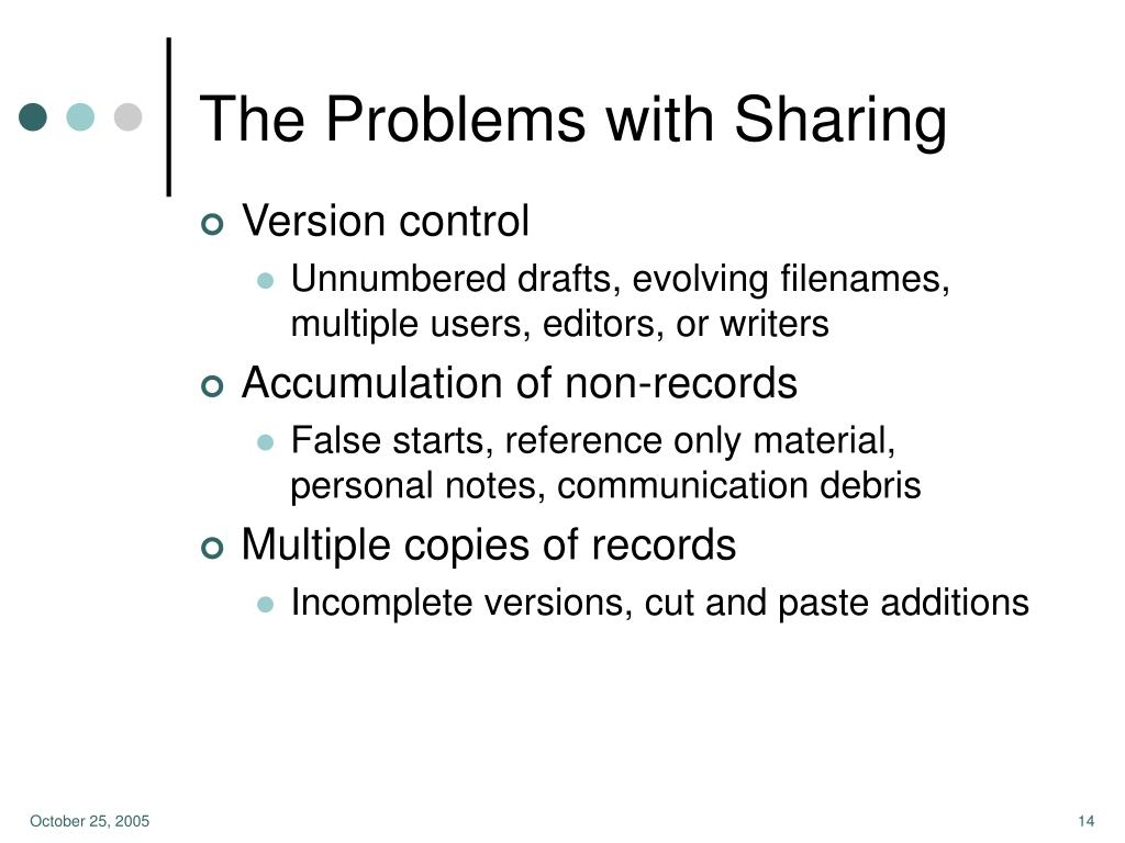 The Problems with Sharing