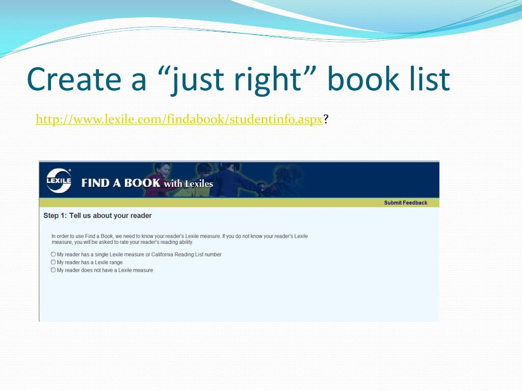 """Create a """"just right"""" book list"""