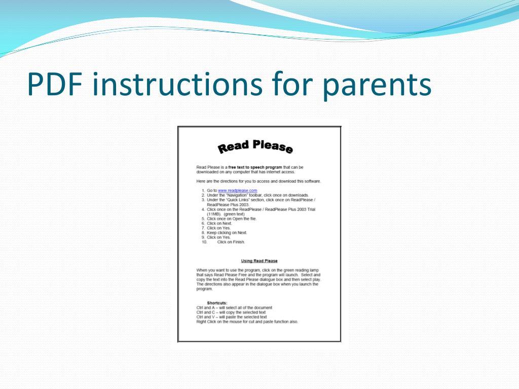 PDF instructions for parents