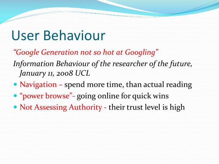 User behaviour