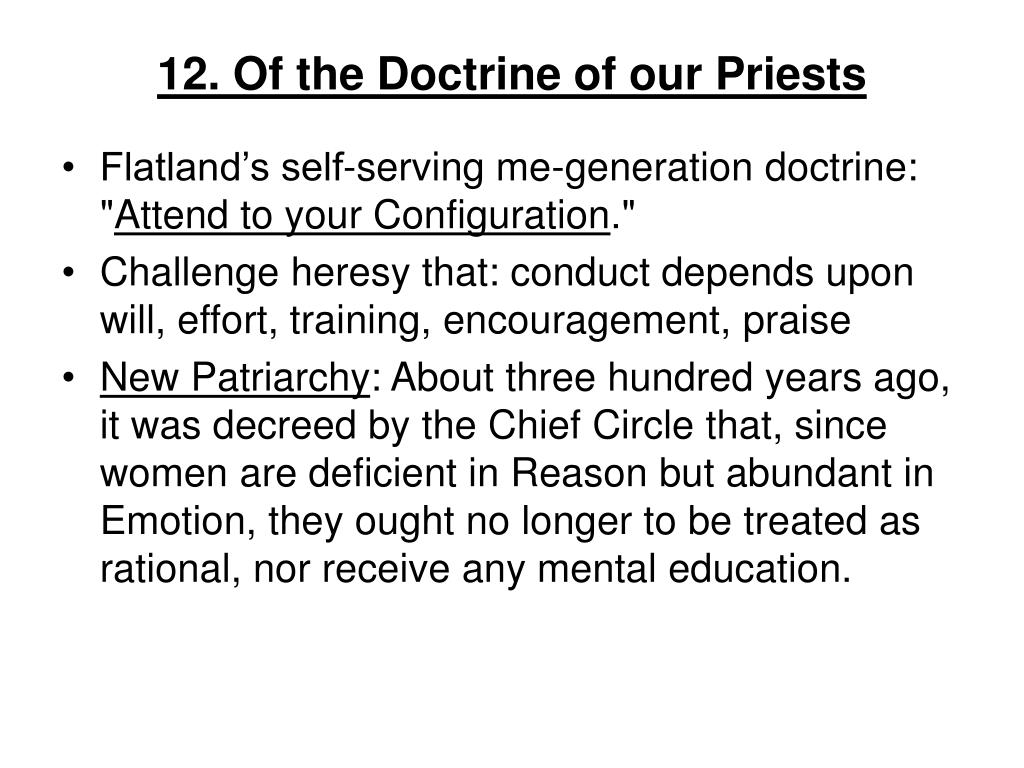 12. Of the Doctrine of our Priests