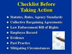 checklist before taking action