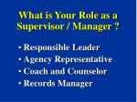 what is your role as a supervisor manager