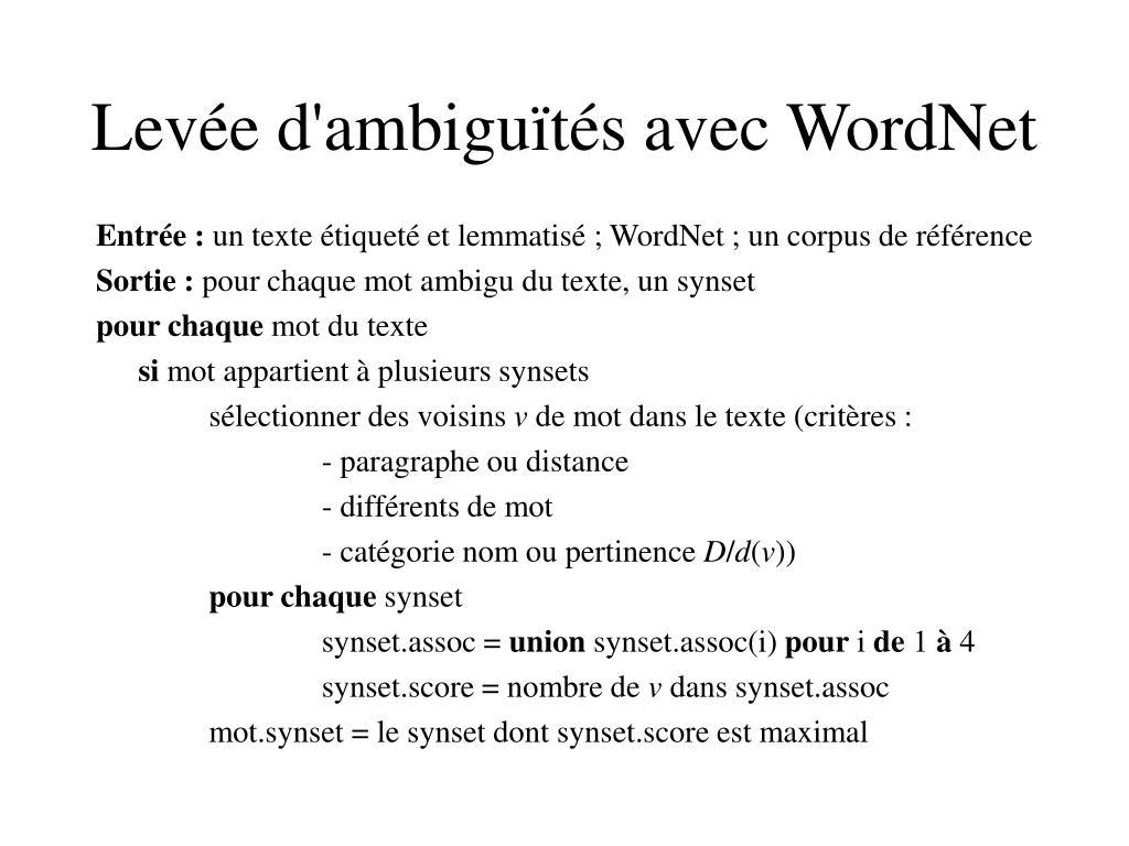 Levée d'ambiguïtés avec WordNet