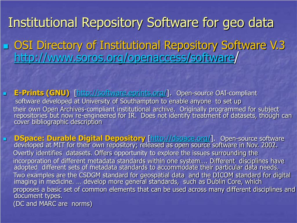 Institutional Repository Software for geo data