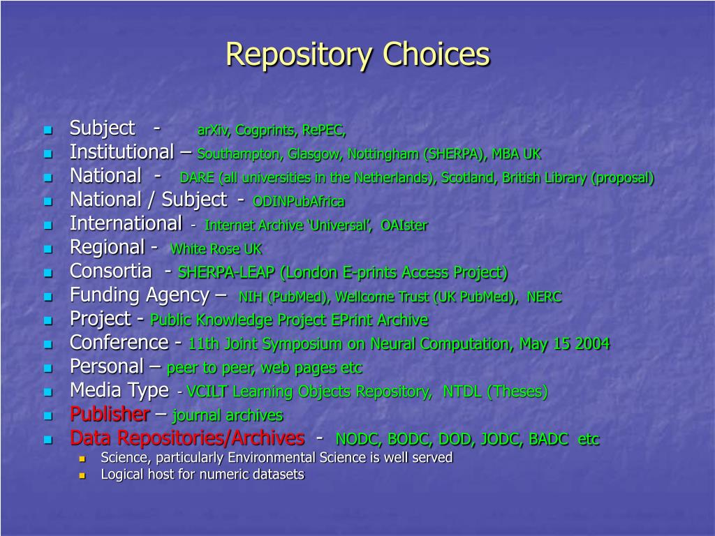 Repository Choices