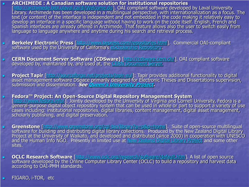 ARCHIMEDE : A Canadian software solution for institutional repositories
