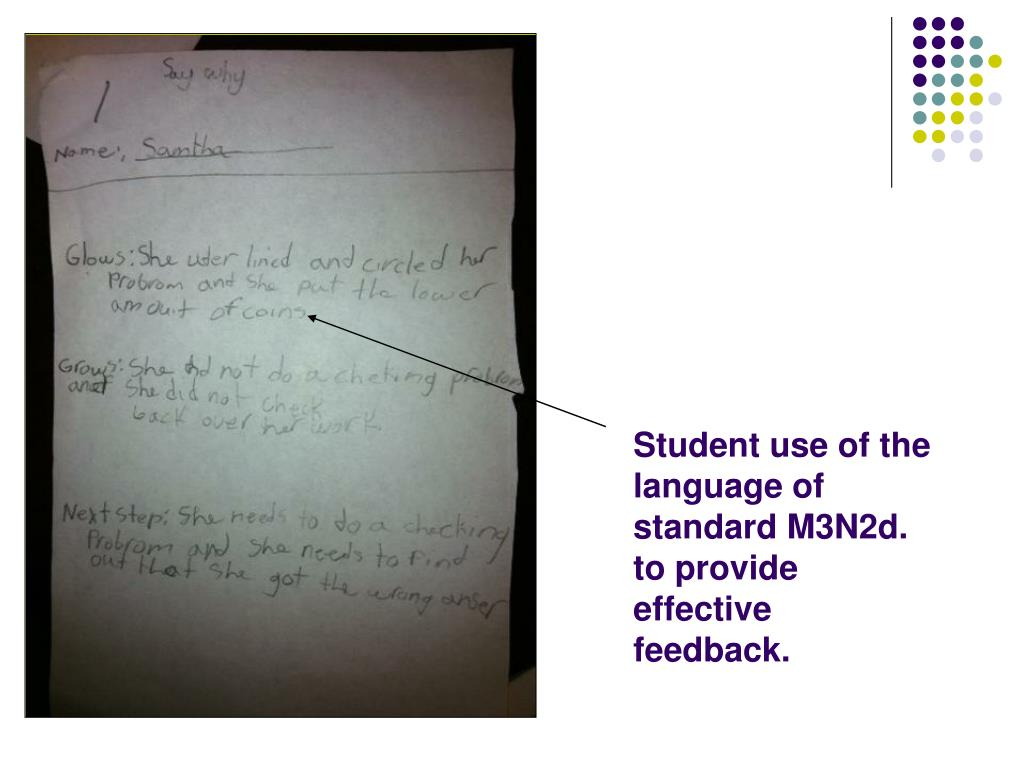 Student use of the language of standard M3N2d. to provide effective feedback.
