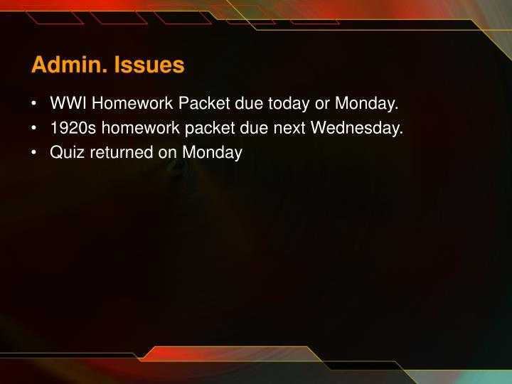 Admin issues