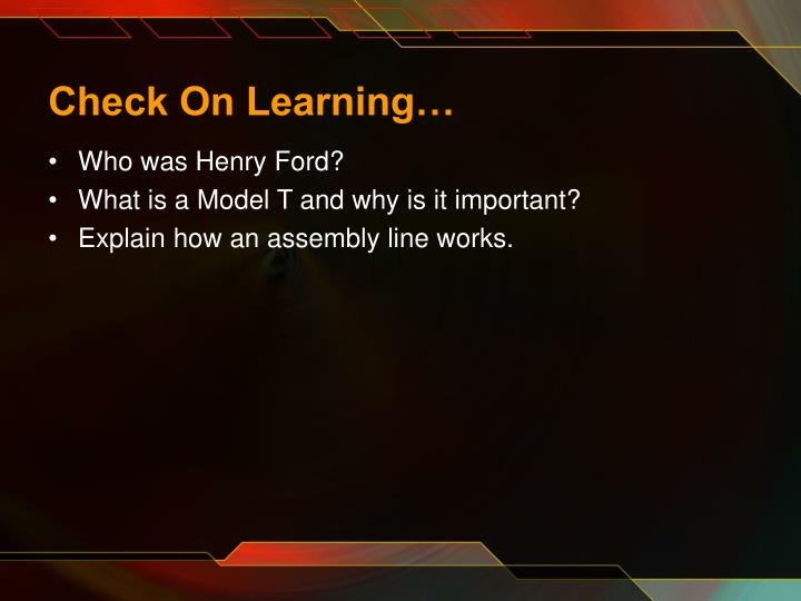 Check On Learning…